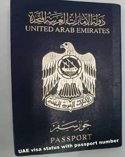 UAE visa status with passport number