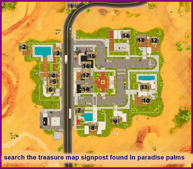 search the treasure map signpost found in paradise palms